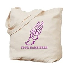 Custom Purple Running Shoe With Wings Tote Bag