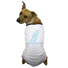 Custom Light Blue Running Shoe With Wings Dog T-Sh