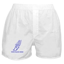 Custom Blue Running Shoe With Wings Boxer Shorts