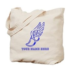 Custom Blue Running Shoe With Wings Tote Bag