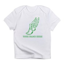 Custom Green Running Shoe With Wings Infant T-Shir