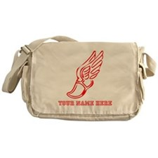 Custom Red Running Shoe With Wings Messenger Bag