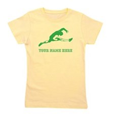 Custom Green Track Athlete Girl's Tee