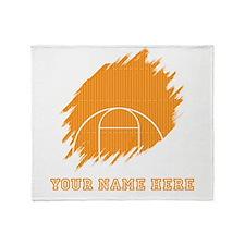 Custom Orange Basketball Court Throw Blanket