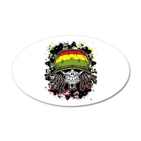 Jamaican Rasta Skull 20x12 Oval Wall Decal