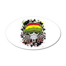 Jamaican Rasta Skull 35x21 Oval Wall Decal