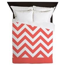 coral pink and white chevron pattern design Queen