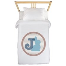 Letter J with cute bunny Twin Duvet