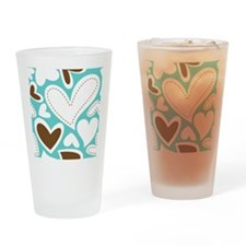 Hearts Aqua and Chocolate Large Drinking Glass