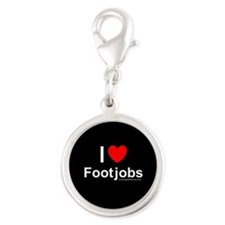 Footjobs Silver Round Charm