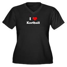 I Love Korfball Women's Plus Size V-Neck Dark T-Sh