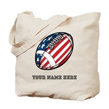 Custom American Flag Football Tote Bag
