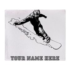 Custom Downhill Snowboarder Throw Blanket