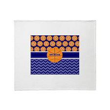 Basketball Blue Chevron Personalized Throw Blanket