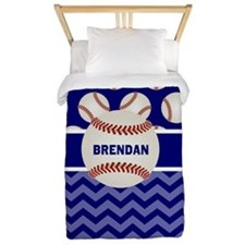 Baseball Blue Personalized Twin Duvet