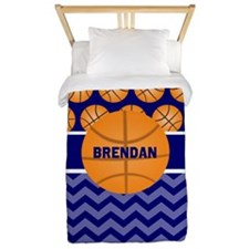 Basketball Blue Personalized Twin Duvet