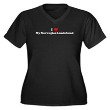 I Love Norwegian Lundehund Women's Plus Size V-Nec