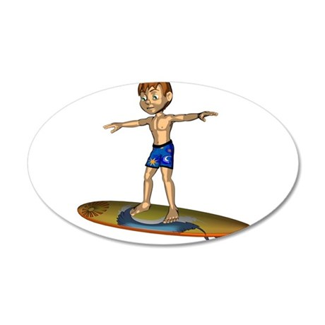 A boy surfs Wall Decal