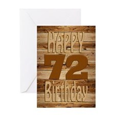 72nd Birthday A Carved Wooden Card. Greeting Cards