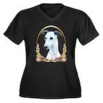 Whippet Xmas Women's Plus Size V-Neck Dark T-Shirt