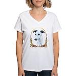 White Whippet Christmas Women's V-Neck T-Shirt