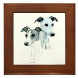 Whippet Pair Framed Tile