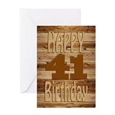 41st Birthday A carved wooden card. Greeting Cards