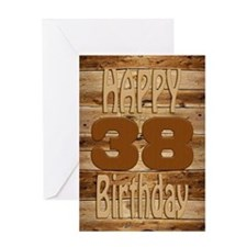 38th Birthday A carved wooden card. Greeting Cards