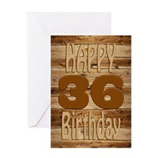 36th Birthday A carved wooden card. Greeting Cards