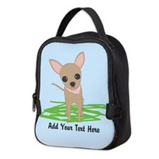 Cute Chihuahua Pink Neoprene Lunch Bag