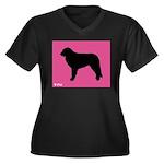 Mastin iPet Women's Plus Size V-Neck Dark T-Shirt