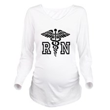 RN Nurse Caduceus Long Sleeve Maternity T-Shirt