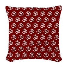 Om, Ohm, Yoga, GARNET Woven Throw Pillow