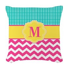 Pink Teal Chevron Monogram Woven Throw Pillow