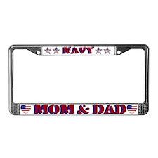 Navy Mom & Dad License Plate Frame