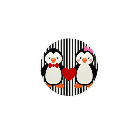 Penguin Couple on Black and White Stripes Mini But