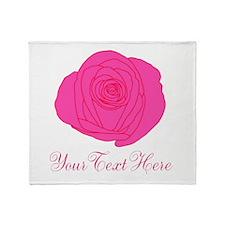 Pesonalizable Pink Rose Throw Blanket