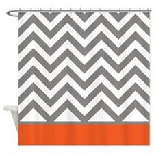 Gray Chevrons and orange stripe Shower Curtain