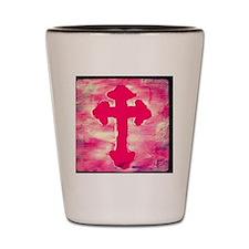 pink cross Shot Glass