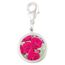 Roses Silver Round Charm