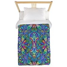 Colorful Abstract Psychedelic Symmetric Twin Duvet