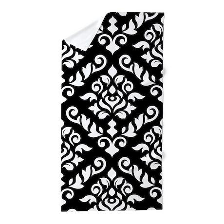 Baroque Damask (large Design) B/w Beach Towel