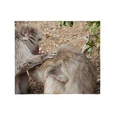 monkey groom Throw Blanket