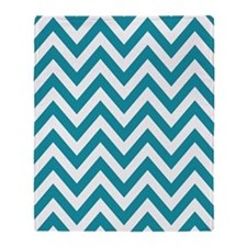 Teal and white chevrons Throw Blanket