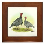 Blue Turkeys Framed Tile