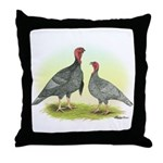 Blue Turkeys Throw Pillow