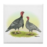 Blue Turkeys Tile Coaster