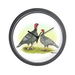 Blue Turkeys Wall Clock