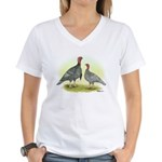 Blue Turkeys Women's V-Neck T-Shirt