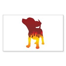 Chihuahua Flames Rectangle Decal
